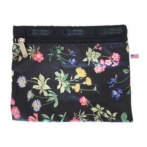 "Lesportsac Dark Floral Print Zipper Pouch, 7""x8"""